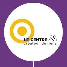 logo le centre créateur de liens, deux cercles imbriqués en jaunes sur fond violet